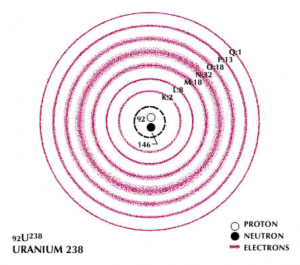 Bohr model of a Uranium atom. Electron shells are indicated by the capital letters; adjacent numbers indicate the total number of electrons in the shell.