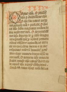Saint Benedict, OR, Mount Angel Abbey, MS 27: fol. 118r beginning of the prayer, O Bone Jesu