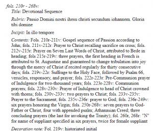 Screenshot of online manuscript description of Walters 197.
